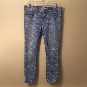 Free People Floral Print Cropped Skinny Jeans
